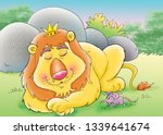 Stock photo lion with mouse 1339641674