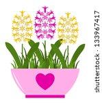 vector hyacinths in pot...   Shutterstock .eps vector #133967417
