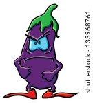 funny cartoon eggplant on the... | Shutterstock .eps vector #133968761