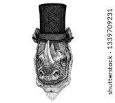 wild animal wearing top hat ... | Shutterstock .eps vector #1339709231