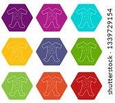 childrens romper suit icons 9... | Shutterstock . vector #1339729154