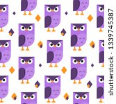 seamless pattern with owls. | Shutterstock . vector #1339745387