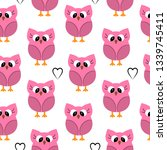 seamless pattern with owls. | Shutterstock . vector #1339745411