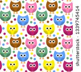 seamless pattern with owls. | Shutterstock . vector #1339745414