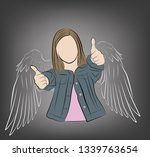 girl with painted wings. vector ... | Shutterstock .eps vector #1339763654