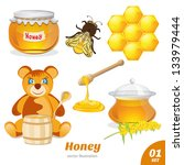 set of honey  honeycomb  a bear ... | Shutterstock .eps vector #133979444
