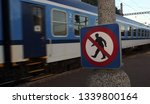 No Entry Sign And Moving Train...