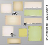 aged paper objects with bugs... | Shutterstock .eps vector #133980545