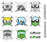 set of vintage camping labels...