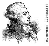 Maximilien Robespierre 1758 to 1794 he was a French lawyer politician and one of the most influential figures associated with the French Revolution vintage line drawing or engraving illustration