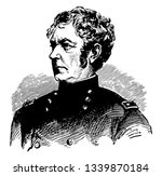 Joseph Hooker 1814 to 1879 he was a career United States army officer and major general in the union army during the American civil war vintage line drawing or engraving illustration