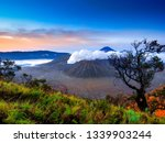 amazing landscape with bromo... | Shutterstock . vector #1339903244
