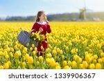 Child In Yellow Tulip Flower...