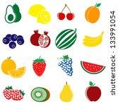 fruit icons set on white... | Shutterstock .eps vector #133991054