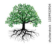 green tree with roots. vector... | Shutterstock .eps vector #1339933904