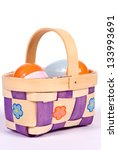 Small colorful Easter basket - stock photo