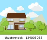 house two floors with green and ...   Shutterstock .eps vector #134005085