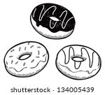 set of dough nut in doodle style