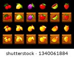 fruits slots icon set on wooden ...