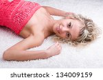 sensual woman in short dress... | Shutterstock . vector #134009159
