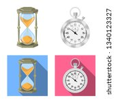 isolated object of clock and... | Shutterstock . vector #1340123327
