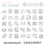 set of line icons of bank for... | Shutterstock . vector #1340140907