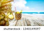 pineapple fruit on desk and... | Shutterstock . vector #1340149097