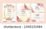 floral wedding invitation pink... | Shutterstock .eps vector #1340152484
