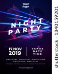party flyer poster. futuristic... | Shutterstock .eps vector #1340159201