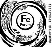 mineral ferrum. fe iron formula ... | Shutterstock . vector #1340193551