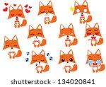 set of emotion fox cartoon | Shutterstock .eps vector #134020841