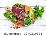 food containing natural iron.... | Shutterstock . vector #1340219891