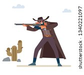 the gold hunter aims his rifle. ...   Shutterstock .eps vector #1340221097