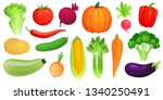 cartoon vegetables. fresh vegan ... | Shutterstock .eps vector #1340250491