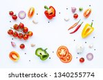 various fresh vegetables and... | Shutterstock . vector #1340255774