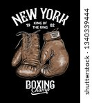 vintage boxing gloves vector... | Shutterstock .eps vector #1340339444