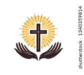 church logo. cross and hands ... | Shutterstock .eps vector #1340359814