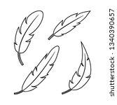 feather set  black outline... | Shutterstock .eps vector #1340390657