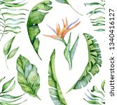 tropical watercolor seamless... | Shutterstock . vector #1340416127