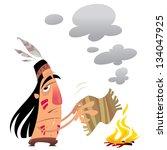 cartoon indian man character... | Shutterstock .eps vector #134047925