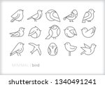 Stock vector set of bird line icons of abstract geometric animals such as pets in a zoo in the wild or for 1340491241