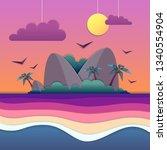 sea or ocean landscape  sea... | Shutterstock .eps vector #1340554904