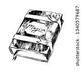 hand drawn magic book sketch...   Shutterstock .eps vector #1340579687
