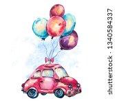 watercolor fantasy greeting... | Shutterstock . vector #1340584337