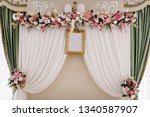 festive table  arch  stands...   Shutterstock . vector #1340587907