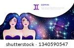 gemini zodiac sign web banner...   Shutterstock .eps vector #1340590547