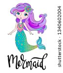 illustration with cute mermaid. ...   Shutterstock .eps vector #1340602004