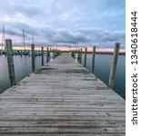 Wooden Dock Sunset. Wooden Doc...