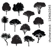 various trees silhouettes | Shutterstock .eps vector #134063345