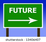 Future direction road street sign and the sky - stock photo